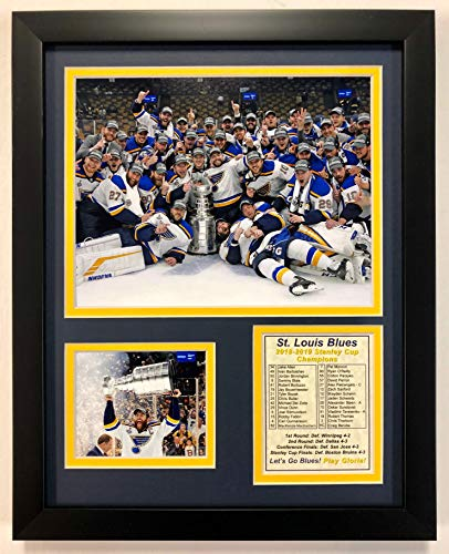 "Legends Never Die St. Louis Blues Stanley Cup Champion 2018-19 Collectible | Framed Photo Collage Wall Art Décor - 12"" x 15"""