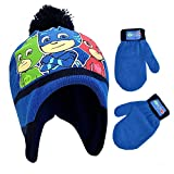 PJ Masks E-ONE Winter Hat, Kids Gloves or Toddlers Mittens, Baby Beanie for Boy Ages, Dark Blue, Age 2-4