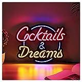 YEHEI Letreros De Neón Led, Cocktail Dream Tubo De Vidrio Real Letrero De Luz De Neón Taberna Cerveza Bar Pub Decoración Lámpara De Neón Tablero Iluminación Comercial, 17'X14