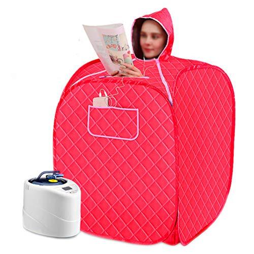 HIXGB draagbare persoonlijke sauna kamerstoomgenerator, dubbele personen, de Detox begasingssauna tent met tijdgestuurde waterdichte temperatuuraanpassing, 80 * 100 cm / 31,50 * 39,37 in,rood