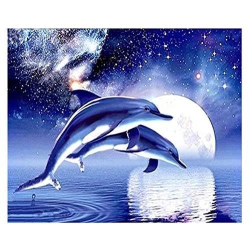 VORCOOL Diamante Pintura delfín patrón Punto de Cruz Bordado Pintura por Diamond Home Adornos Z348