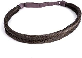 Ty.Hermenlisa Synthetic Hair Fishtail Braided Headband Classic Braids Elastic Stretch Hairpiece Women Beauty Accessory,35g Mocha Brown