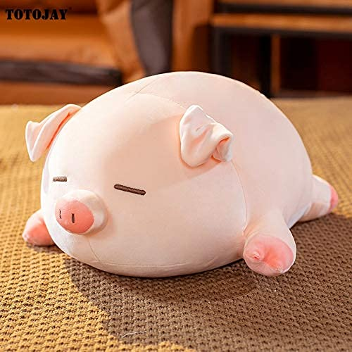 KCGNBQING Kawaii Lying Plush Piggy Toy Animal Soft Plushie Squishy Pig Stuffed Doll Sleep Pillow Kids Baby Cartoon Gift 60cm A Cute plush toy (Color : B, Size : 50cm)