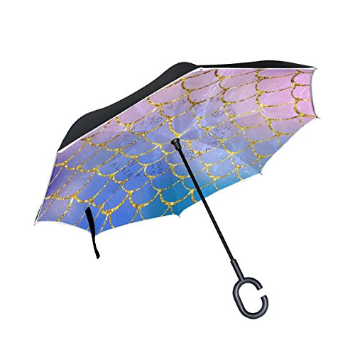 ALAZA Upside Down Umbrella Purple Mermaid Scales Marble Fish Light Summer Gold Reversible Umbrella Heavy Duty Inverted Oversized Golf Umbrellas Windproof Women Girl