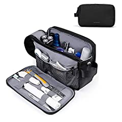 PREMIUM MATERIAL- Made of water-resistant material, easy to wipe clean. LARGE CAPACITY- Spacious main compartment with elastic straps hold bottles upright. Multiple pockets inside, can hold all your toiletries and shaving supplies organized. SEPARATE...