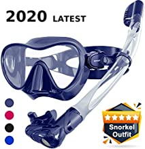 Keystand Scuba Mask and Snorkel Set - Foldable Snorkel Gear, Detachable Anti-Splash Breathing System Diving Mask, Anti Fog Anti Leak Tempered Glass, Frameless Snorkle Goggles for Adult Youth Kids