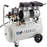 Arebos Flüsterkompressor 24 Liter | 800 W | Ölfrei | GS geprüft von TÜV Süd | Euro Schnellkupplung 120 L/min