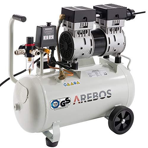 Arebos Flüsterkompressor | Kompressor | 24 Liter | 800 W | ölfrei | Ansaugleistung 120 L/min | Euro Schnellkupplung | GS geprüft von TÜV Süd