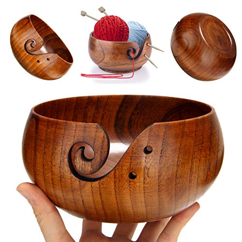Freyamall Wooden Yarn Bowl with Holes Holder Handcrafted Knitting Yarn Needlework Crochet Storage Organizer, Perfect for Mother's Day!