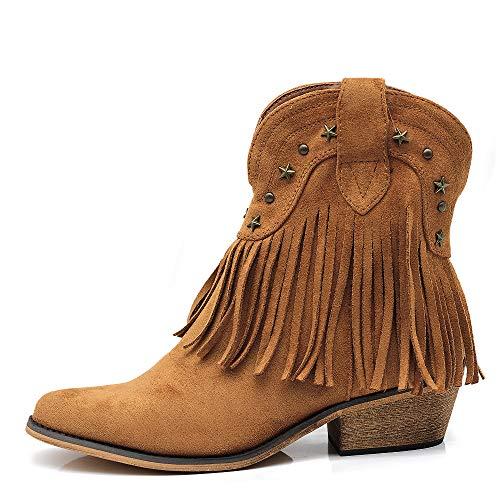 Texani Cowboy Western Scarpe da Donna Stivali Stivaletti Frange Camperos Etnici G631 Camel N.37