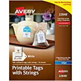 Avery Printable Tags for Inkjet Printers Only, Scalloped Tags With Strings, 2' x 1.25', 180 Tags (22848) , White