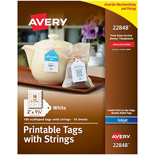 """Avery Printable Tags for Inkjet Printers Only, Scalloped Tags With Strings, 2"""" x 1.25"""", 180 Tags (22848) , White"""