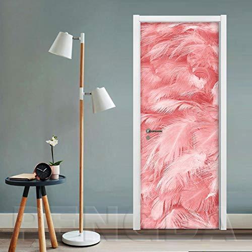 WZKED 3D Pegatinas De Puerta Pluma Rosa 77X200Cm Vinilo Impermeable Extraíble Murales De Papel Decorativos para El Hogar Baño Sala De Estar Niños Dormitorio Decoración
