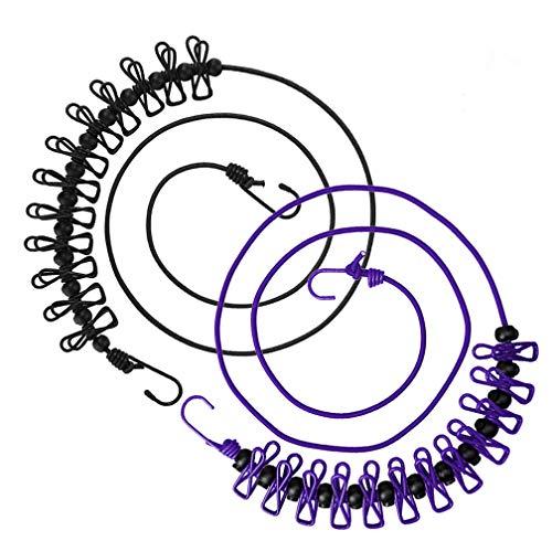 Wanxida 2 Piezas Portátil Tendedero, Elástico Ajustable Retráctil Cuerda de Ropa con 13pcs Hebillas de Posicionamiento Negro para Camping Senderismo Playa Viajes y Uso (Negro+Púrpura)