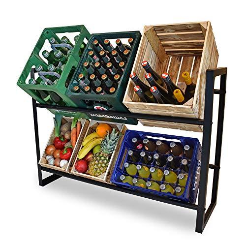 D&D Living Getränkekistenregal - Stabiler Getränkeregal Ständer für 5 Kisten