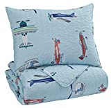 Signature Design by Ashley - Mcallen 2 Piece Twin Quilt Set - Airplane/Helicopter Pattern - Blue/Multicolor
