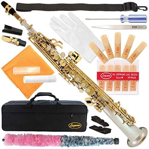 Lazarro Silver Body-Gold Keys Bb B-Flat Straight Soprano Saxophone Sax Lazarro+11 Reeds,Care Kit~24 COLORS Available-300-2C