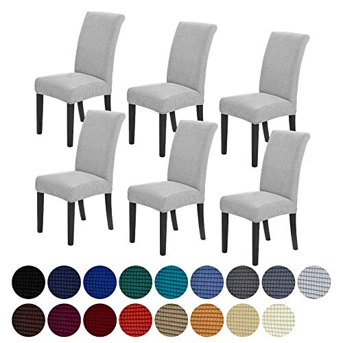 Howhic Stretch Chair Covers for Dining Room Set of 6, Removable Washable Dining Room Chair Covers, Dining Chair Slipcovers Seat Protector, Great Home Decor and Banquet Upholstery (Sliver,6pk)