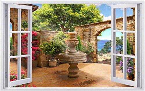 DesFoli Toskana Brunnen 3D Look Wandtattoo 70 x 115 cm Wanddurchbruch Wandbild Sticker Aufkleber F513