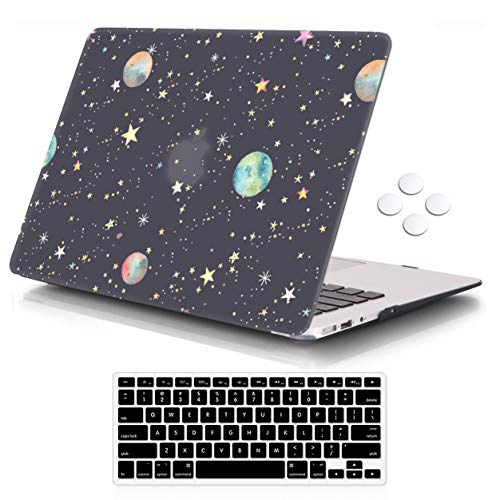 iCasso Air 13 inch Case (Release 2010-2017 Older Version), Hard Shell Plastic Protective Case & Keyboard Cover Only Compatible with MacBook Air 13 Inch Model A1369/A1466 - Fairy Starry Night