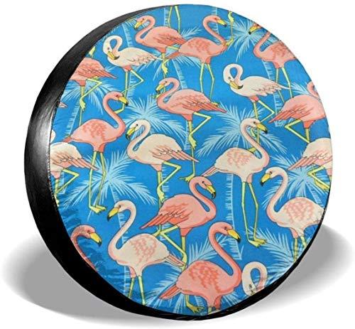MODORSAN Pink Flamingo Palm Tree - Cubierta de neumático de Rueda de Repuesto de poliéster, Cubiertas de Rueda universales para Jeep, Remolque, RV, SUV, camión, Accesorios, 16 Pulgadas