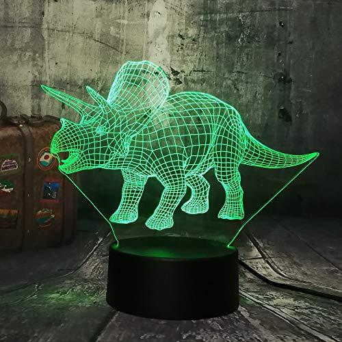 Solo 1 pezzo Triceratopo 3D LED Luce notturna Scrivania Luce per dormire Creativo Giocattolo per bambini Camera da letto Casa Natale Luce