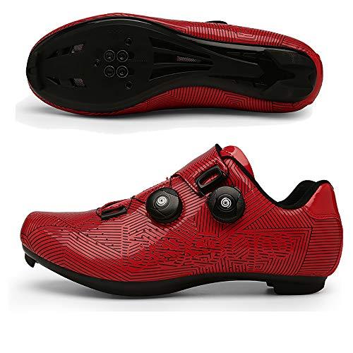 MILKKAR Los Zapatos de Bicicleta de Carretera Profesionales para Hombre se utilizan con Tacos MTB, Ciclo de Giro, Ciclismo de Carretera en Interiores