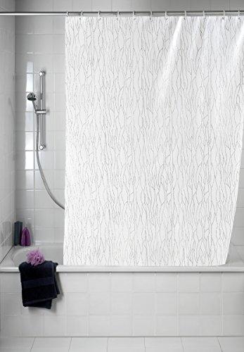 WENKO 21638100 Duschvorhang Deluxe Weiß - mit glänzenden Applikationen, waschbar, 100 prozent Polyester, Weiß