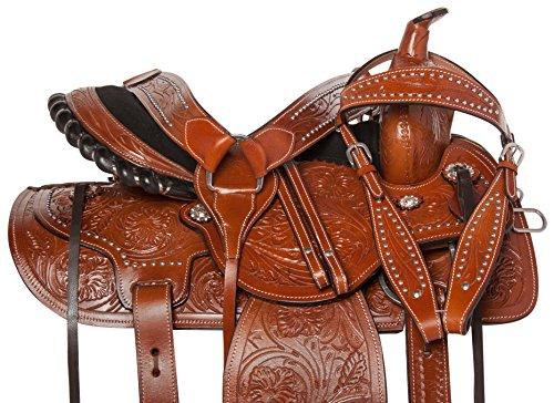 Acerugs Western Comfy Barrel Racing Pleasure Trail Horse Leather Saddle 14 15 16 17 18 (15)