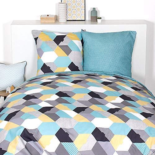 Ptit Basile tejido tupido para mayor suavidad azul nordico 40x60 cm algod/ón org/ánico ecologico Lote de 2 fundas de almohada para bebe