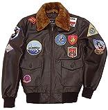 e Genius Top Gun Tom Cruise Bomber - Giacca Militare da Uomo, in Pelle, Colore: Marrone Brown Removeable Fur Jacket XL