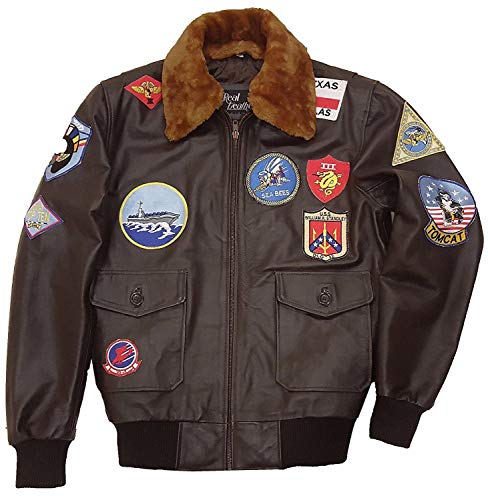 Top Gun Giacca in pelle Tom Cruise Pete Maverick Top Gun Flight Bomber Elegante Giacca in pelle Giacca in pelliccia marrone rimovibile XX-Small