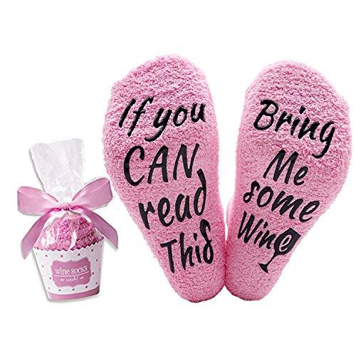 Lustige Socken für Frauen Mädchen, Wenn Sie Dies lesen können, bringen Sie Mir etwas Wein Bequeme Socken Geschenke für Liebhaber, Mutter, Frau oder Freund (Rosa)