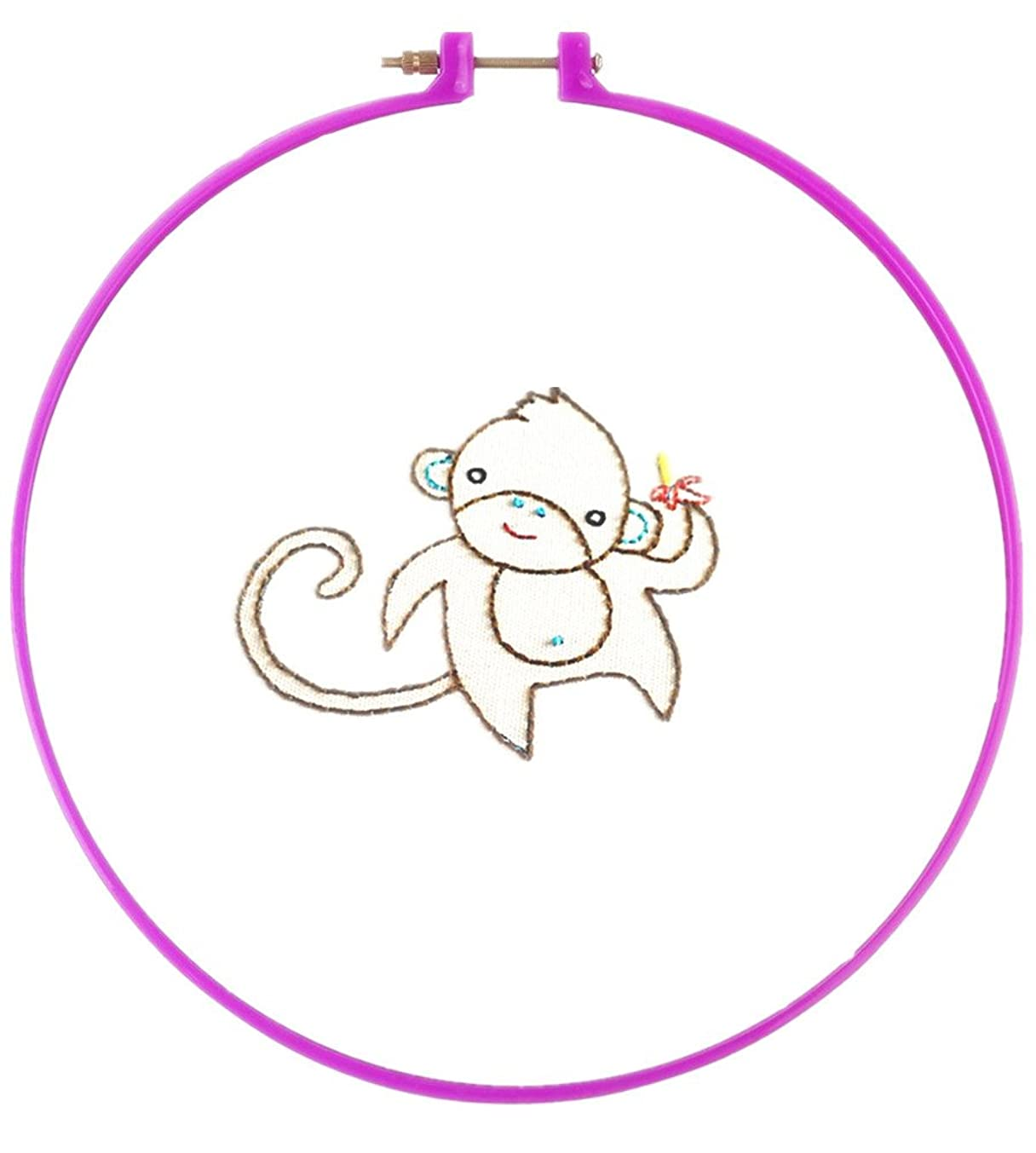 Kid Embroidery Animal Pattern Simple Basic Handmake Stitching (Monkey)