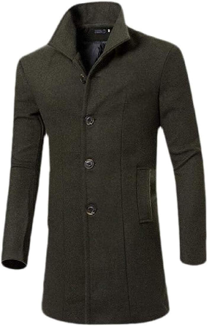 Mens Basic Long Sleeve Mid-Length Single Breasted Wool Blend Top Coat