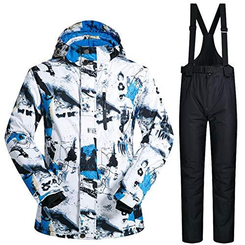 Haodene Chaqueta De Esquí Hombre - Traje De Esquí De Impermeable, Cálido Ski Jacket Hombre A Prueba De Viento, Hombre Snow Jacket Top + Pants, Adecuado Para Deportes De Invierno Al Aire Libre, M - 3XL