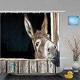 Marutuki Duschvorhang,Lustiger Esel,personalisierte Deko Badezimmer Vorhang,mit Haken,180 * 180