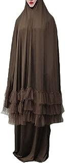 Howely Womens Swing Muslim Abaya Long-Sleeve Lace Trim 2-Piece Suit
