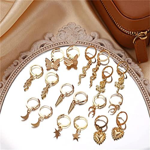 FEARRIN Pendientes de Moda Bohemios Vintage Pendientes de Gota de Animales de Oro para Mujer Pendientes de Cruz de Mariposa declaración de joyería 52060