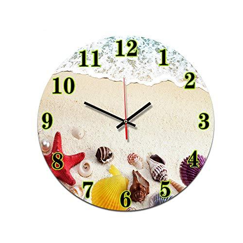 LUOYLYM Seestern Muschel Wohnzimmer Digitale Wanduhr Acryl Stumm Startseite Kreatives Handwerk Uhr Rahmenlose Wecker P190430-89 28CM