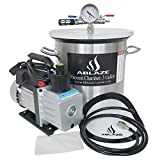 ABLAZE 3 Gallon Stainless Steel Vacuum Degassing Chamber and 3 CFM Single...