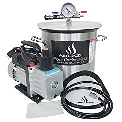 small ABLAZE 3 gallon stainless steel degassing vacuum chamber and 3CC single stage pump set
