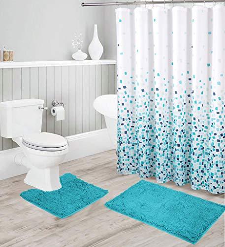 Luxus Chenille Badematten und Ombré Duschvorhang-Set, Ultra Soft Anti-Rutsch Hochflor Wasserabsorbierende Shaggy Badteppiche abstrakte Mosaik Duschvorhang 15-teiliges Set - Jasmin (Türkis)