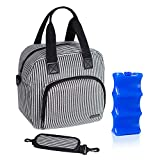 Luxja Breastmilk Cooler Bag with an Ice Pack (Hold 6 Breastmilk Bottles, 5-9 Ounces), Leakproof Cooler Bag for Breast Milk and Bottle Set, Stripes