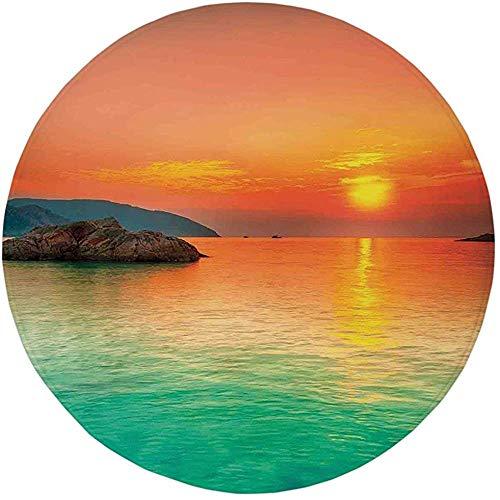 Runder Teppich Matte Teppich, Natur, Sonnenuntergang über dem Meer Con Dao Vietnam Sonnenstrahlen Bunte Himmelsreflexion auf Wasser, Orange Mint Greenoom