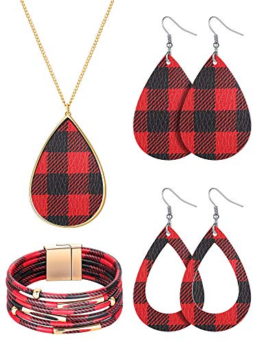 4 Pieces Christmas Plaid Print Jewelry Set, Christmas Plaid Multi-Layer Bracelet, Faux Leather Dangle Earrings, Necklace for Women (Red-Black)