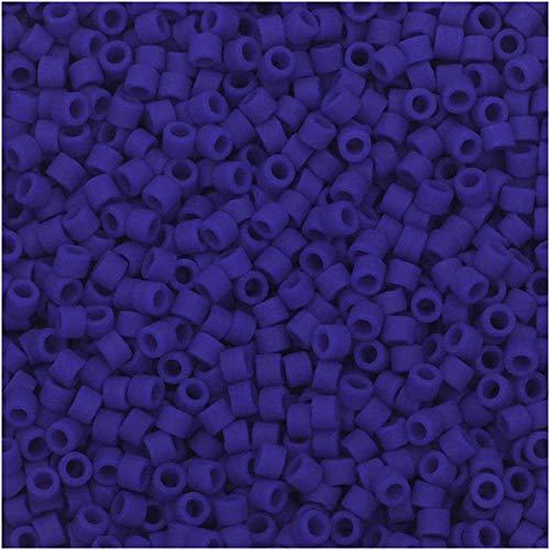 Miyuki Delica Seed Beads, 11/0 Size, 7.2 GMS, 756 Matte Opaque Royal Blue
