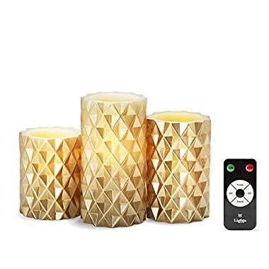 3 Gold Geometric Flameless Pillar Candles, Wax, Warm White LEDs, Remote & Batteries Included