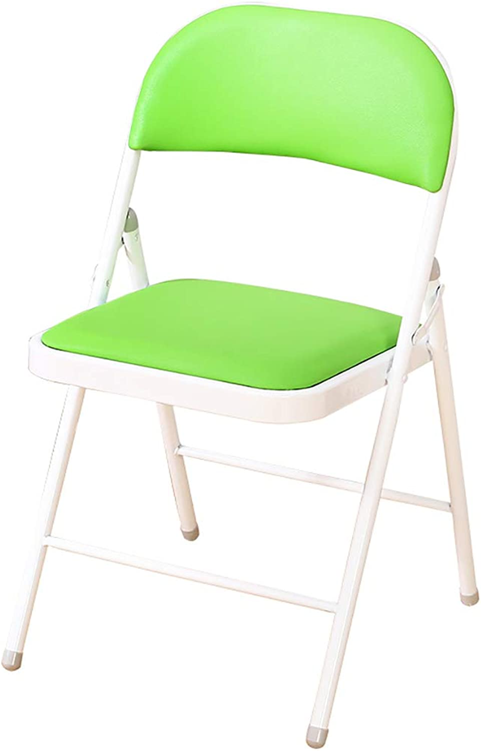 XHLZDY Folding Chair, Folding Chair Computer Chair Staff Chair Office Home Meeting Training Seat Leisure Chair Back Folding Chair (color   Green)