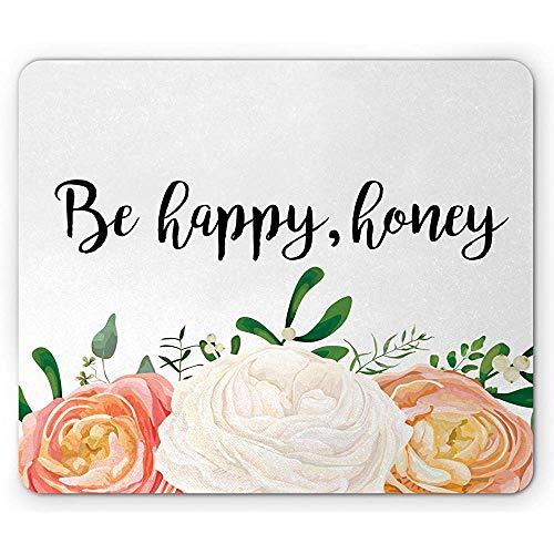 Bloemen muis pad, Wees blij honing inscriptie en 3 grote pioen Eucalyptus tak op vlak, rechthoek anti-slip rubber muismat